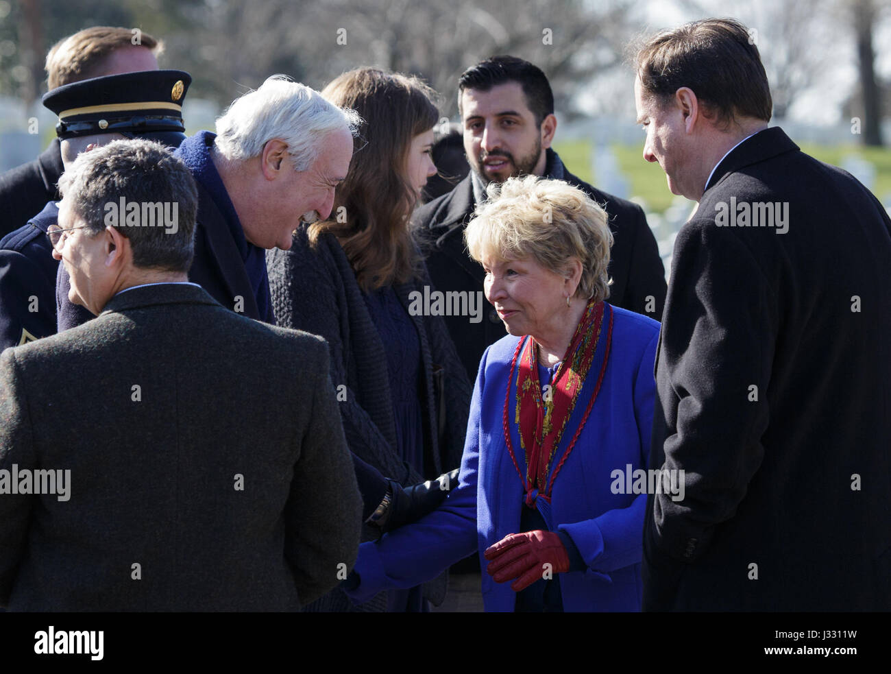 Former NASA Administrator Sean O'Keefe, left, greets June Scobee-Rodgers, widow of Space Shuttle Challenger - Stock Image