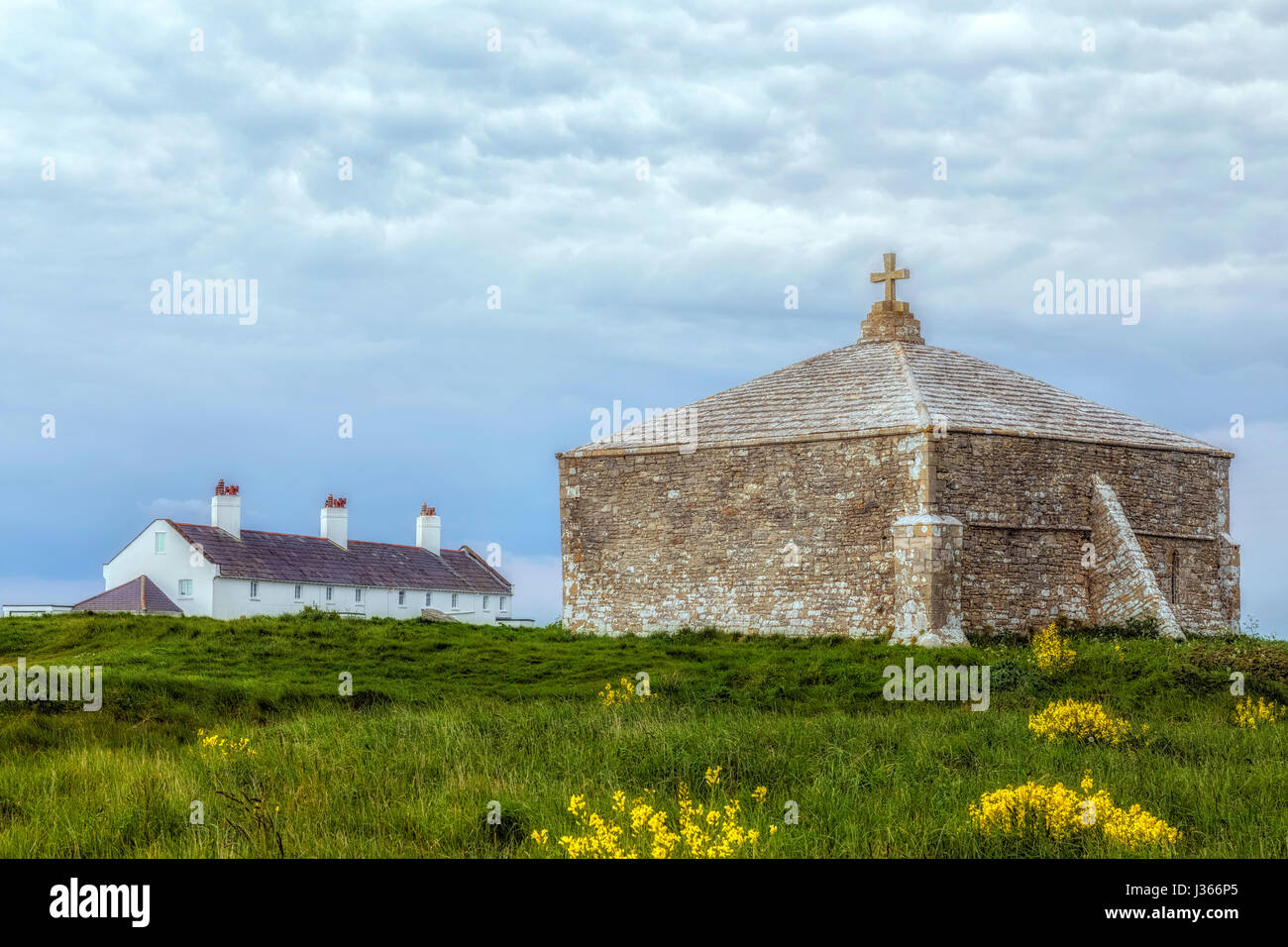 St Adhelm's chapel, Adhelm's Head, Purbeck, Jurassic Coast, Dorset, England - Stock-Bilder