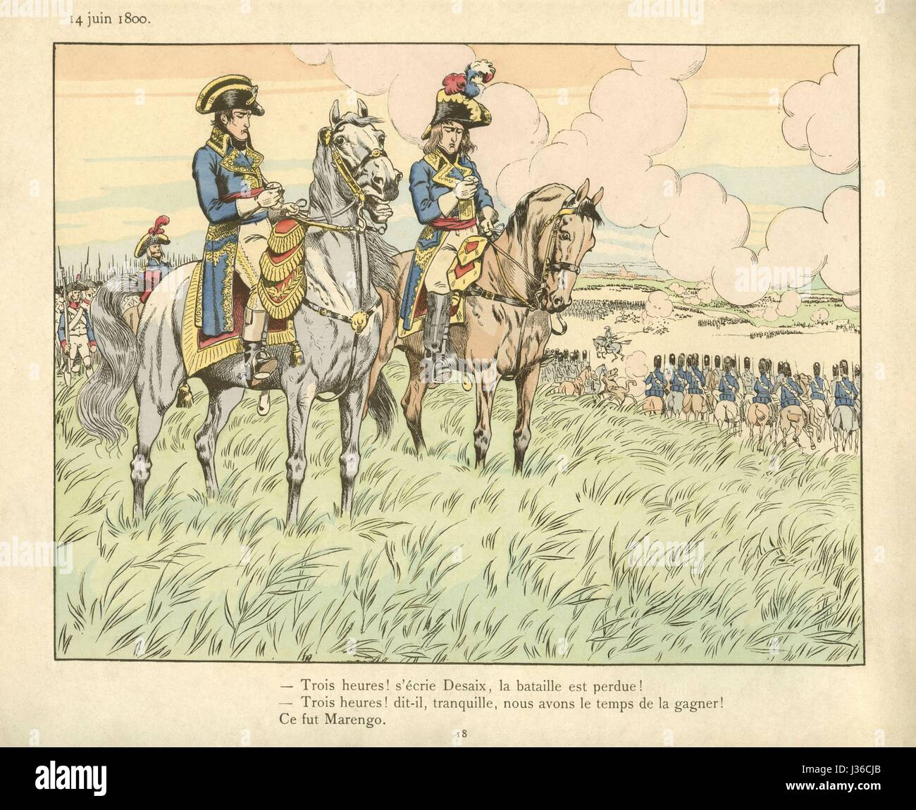The Battle of Marengo in June 14, 1800.    Illustration on page 18 of the book for children 'Le Grand Napoléon - Stock Image