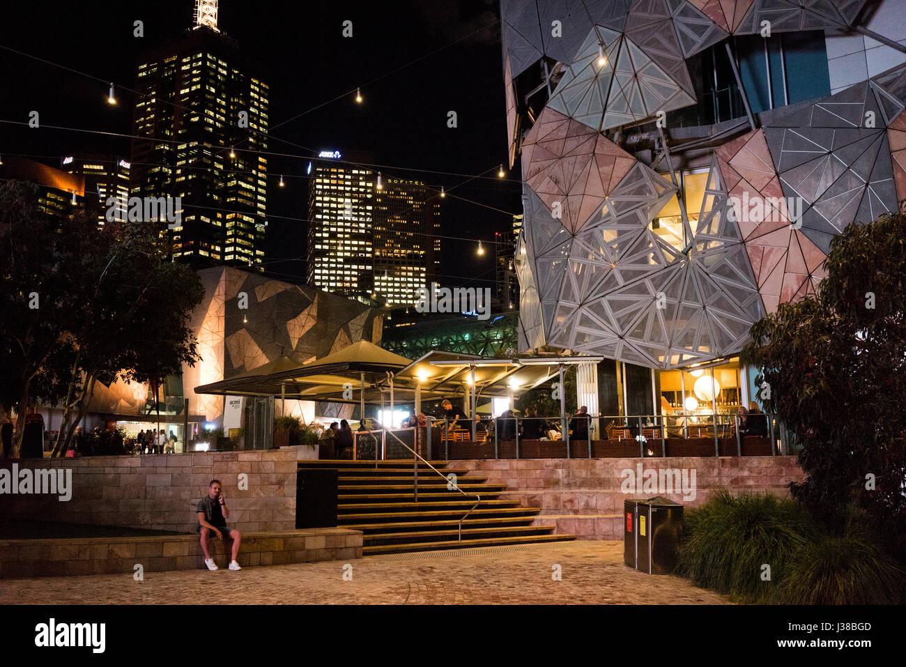 Night view of the Victorian Arts Centre in Melbourne Australia - Stock-Bilder