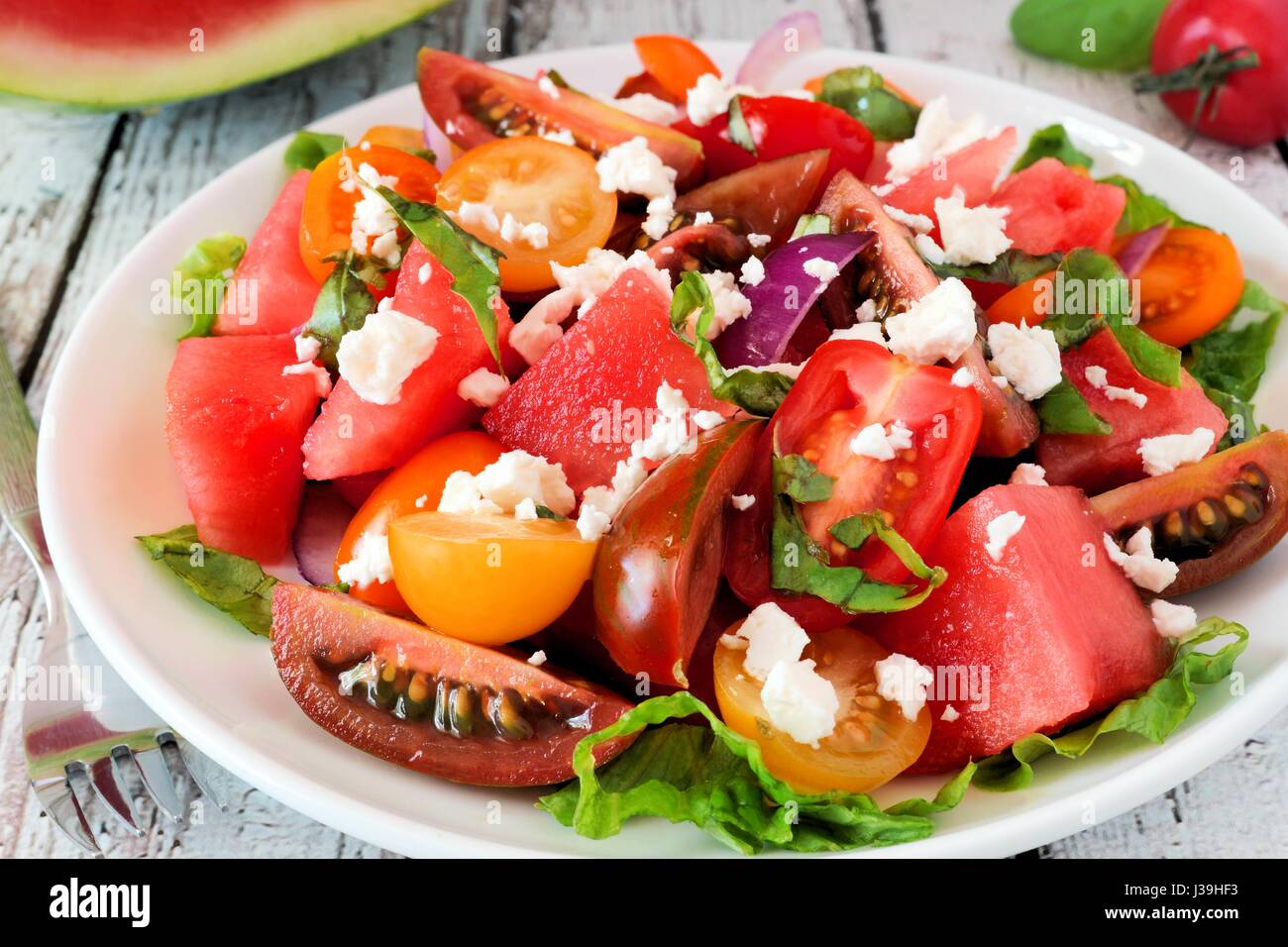 Watermelon And Feta Cheese Stock Photos & Watermelon And ...
