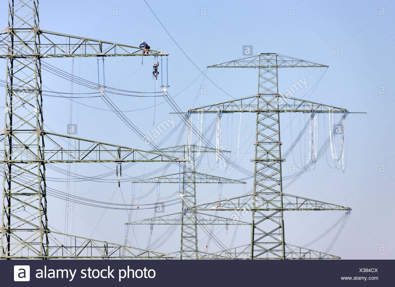 Man On High Voltage Wire : Wires section stock photos images