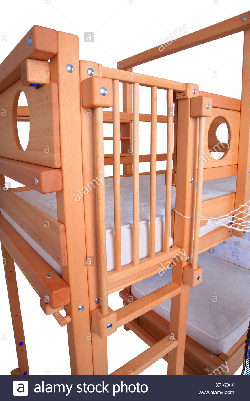 wooden bunk bed ladder stock photos wooden bunk bed. Black Bedroom Furniture Sets. Home Design Ideas