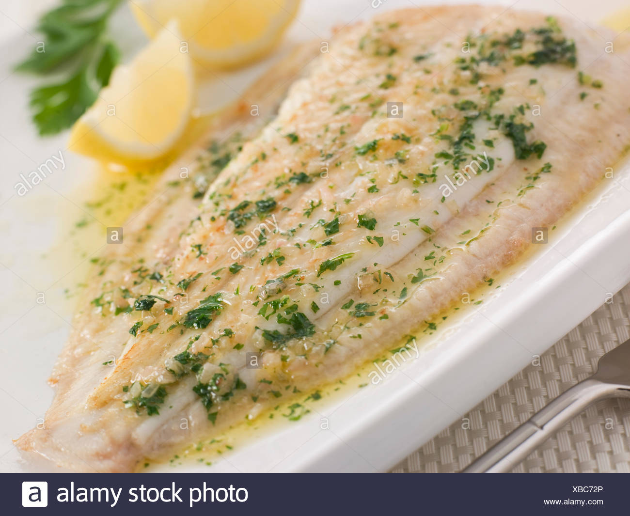 Dover sole sauce stock photos dover sole sauce stock for Sole fish fillet