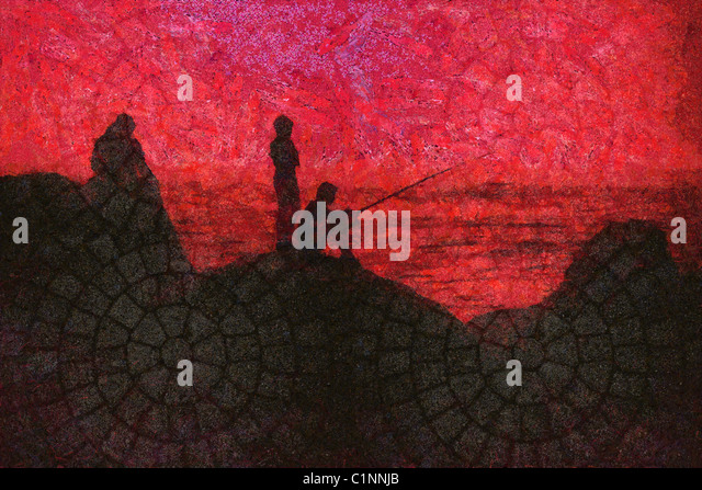 Painting - Children fishing in sea. Can be canvas or paper printed. - Stock Image