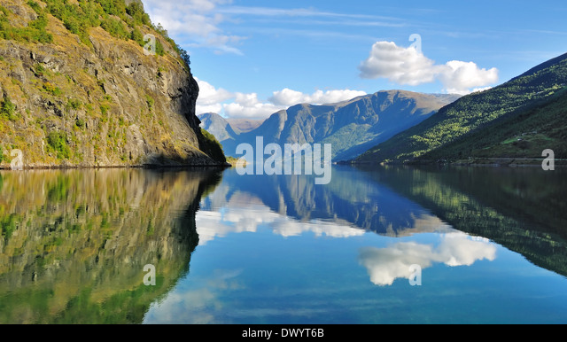 Scenic and tranquil  fjords scenery in Flam Norway. - Stock Image