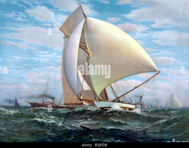 Flying Sailing Ship 1895 - Stock Image