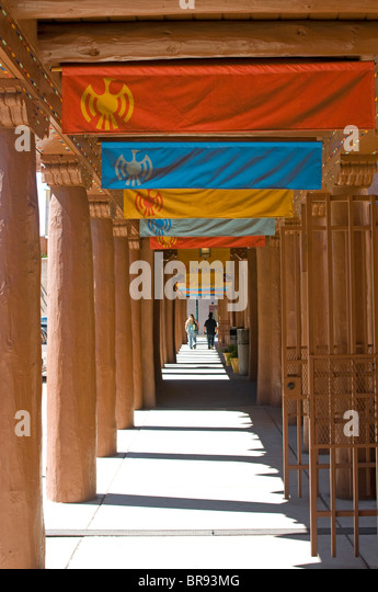 Museum of American Indian Arts walkway Santa Fe New Mexico - Stock Image