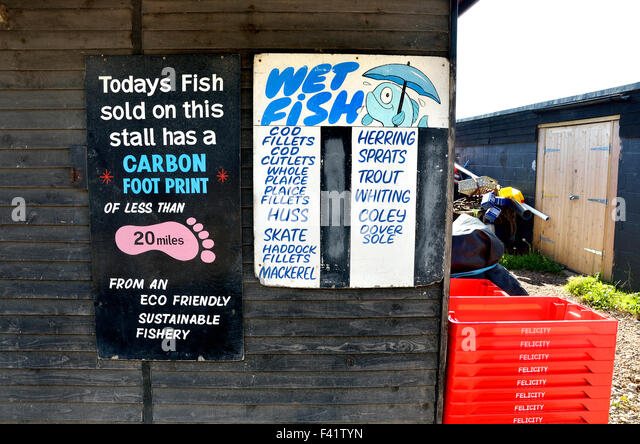 Hastings, East Sussex, England, UK. Fresh fish stall on the beach with a low carbon footprint - Stock Image