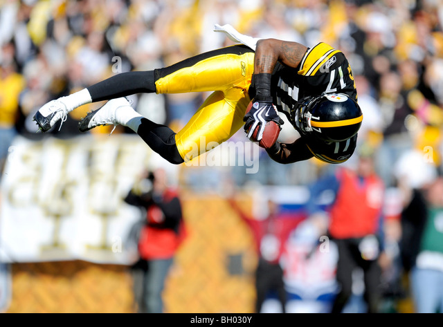Mike Wallace #17 of the Pittsburgh Steelers jumps into the end zone after scoring a touchdown against the Minnesota - Stock Image