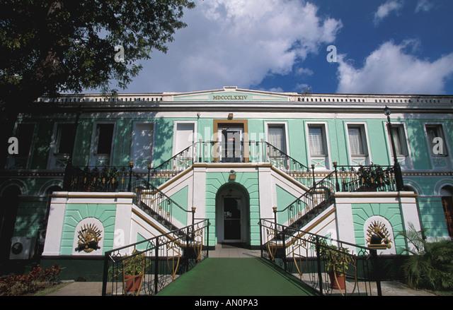 St Thomas USVI Virgin Islands Legislature Building,  historic lime-green building - Stock Image