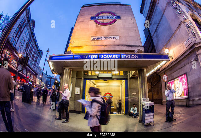 Leicester Square Underground Station at Night London UK - Stock Image