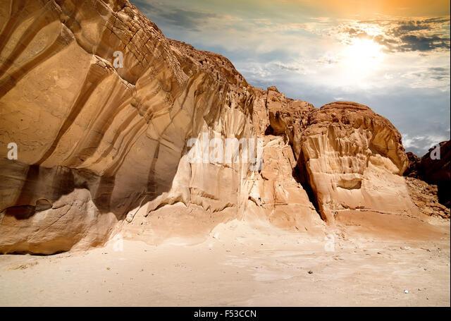 Mountains of canyon in Sinai at sunrise - Stock Image