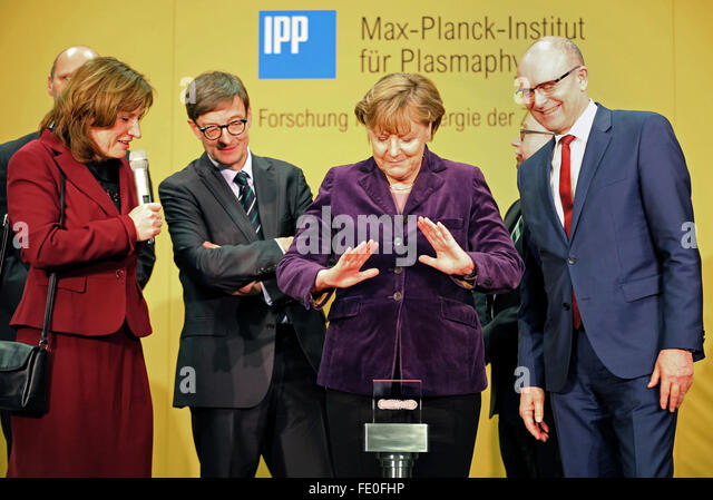 Greifswald, Germany. 3rd Feb, 2016. German Chancellor Angela Merkel (CDU) presses the start button to turn hydrogen - Stock Image