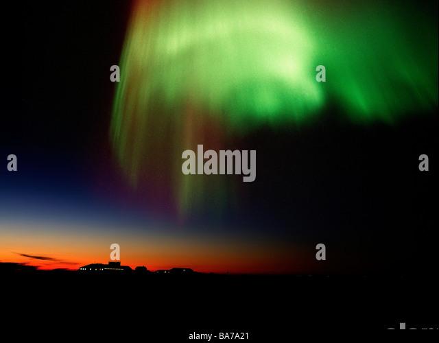 Aurora Borealis or Northern Lights, Iceland - Stock Image