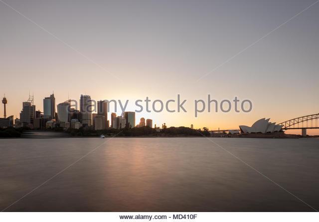 Sydney opera house and skyscrapers on skyline, Sydney, New South Wales, Australia - Stock Image