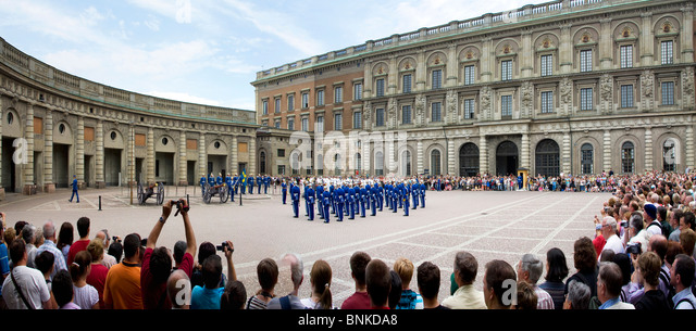 Sweden Stockholm city castle uniforms changing of the guard parade traveling tourism holidays vacation - Stock Image