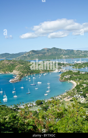 Looking down on English Harbour from Shirley Heights Lookout, Antigua - Stock Image