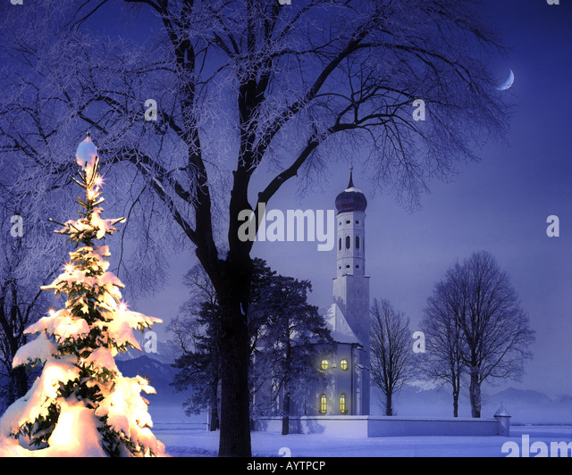 DE - BAVARIA: Christmas at St.Colman near Schwangau in the Allgäu - Stock Image