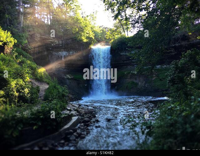 Minnehaha falls in Minneapolis, MN. - Stock Image