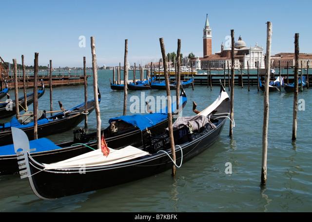 Gondola on Canal San Marco towards San Giorgio Maggiore, Venice, Italy - Stock Image