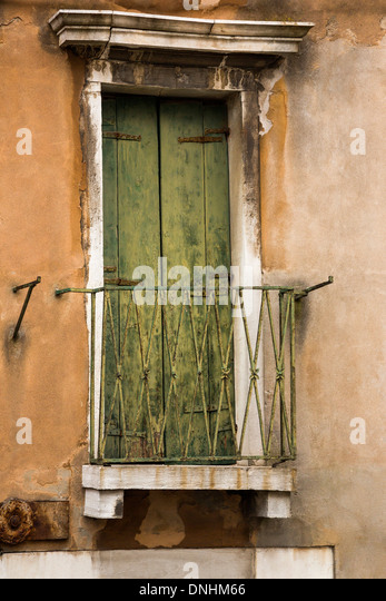 Closed door of a balcony, Venice, Veneto, Italy - Stock-Bilder