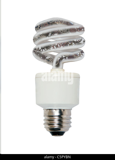 Ideas in motion shown by several gears inside a spiral light bulb used to light a room efficiently - Stock Image