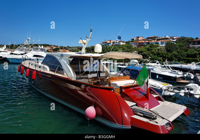Italy Sardinia Costa SmeraldaItaly Sardinia Porto Rotondo Yachting Port - Stock Image