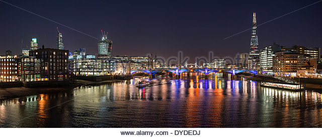 London night skyline of Shard with Tower Bridge and Walkie Talkie. - Stock Image
