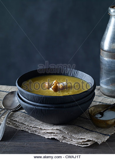 Bowl of squash soup - Stock Image