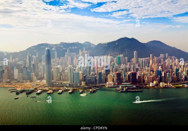 Cityscape of Hong Kong Island and Victoria Harbour, Hong Kong, China, Asia - Stock Image
