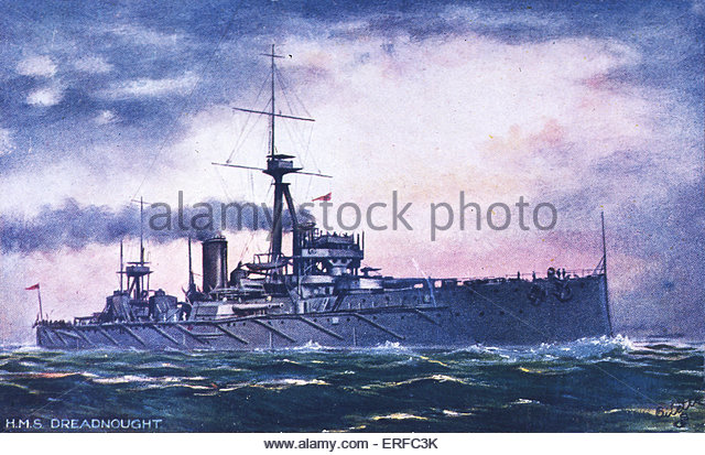 HMS Dreadnought, early twentieth century battleship postcard. - Stock Image