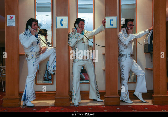 Elvis Presley impersonators pose for a photograph during the European Elvis Championship 2017 - Stock Image