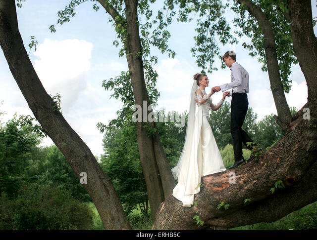 Bride and groom on the tree - Stock Image