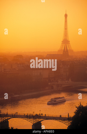 Eiffel Tower and river seine Paris France - Stock Image