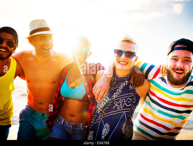 Diverse People Friends Fun Bonding Beach Summer Concept - Stock Image