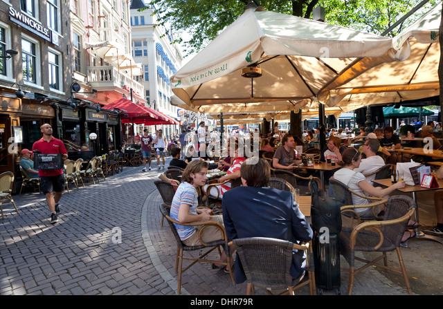 Terraces in summer on the Leidseplein in Amsterdam, Netherlands - Stock Image
