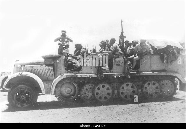 German 8 to. half-track military vehicle in North Africa - Stock Image