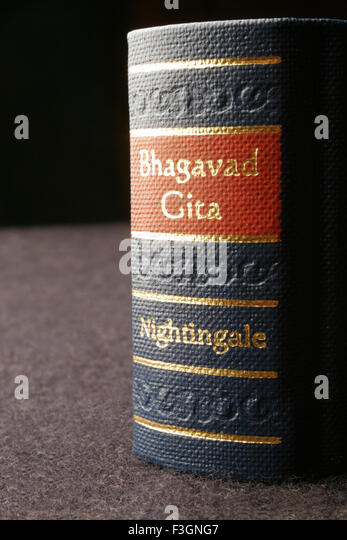 Indian sacred and epic book Bhagvad Gita in miniature form ; India - Stock Image
