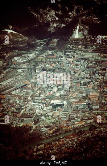 Austria, Tyrol, Aerial view of Innsbruck - Stock Image