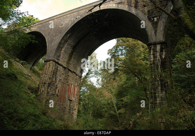 Millers Dale in Derbyshire by River Wye and Viaduct - Stock Image