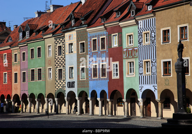 Poland Poznan Old Market Square traders houses - Stock Image
