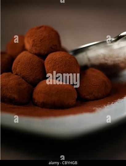 cocoa truffles - Stock Image