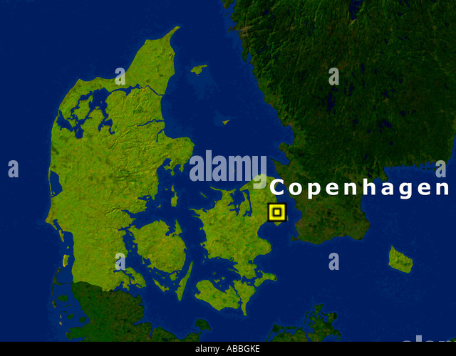 Satellite Image Of Norway With Copenhagen Highlighted - Stock Image
