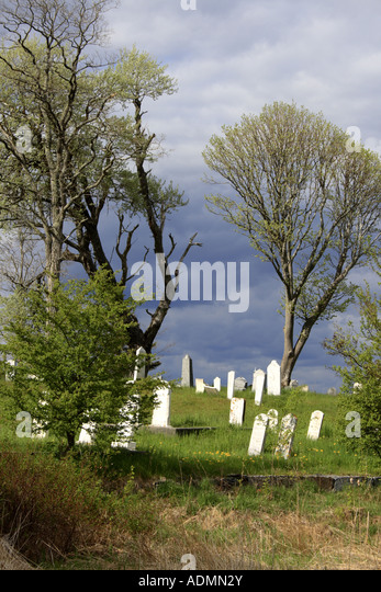 abandoned cemetery of  Port Medway, Nova Scotia, Canada. Photo by Willy Matheisl - Stock Image