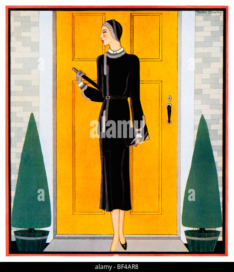 Early Autumn, Beautiful 1930s fashion illustration of a lady dressed for Autumn in front of a yellow door - Stock-Bilder