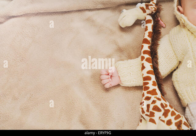 sleeping cute newborn baby, maternity concept, soft image of beautiful family - Stock-Bilder