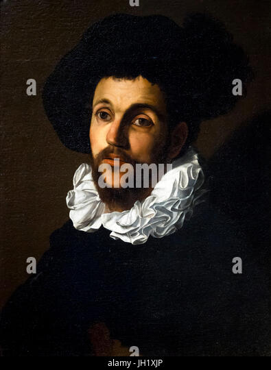 Portrait of a Young Man with a Ruff, by Cecco del Caravaggio, circa 1620, Uffizi Gallery, Florence, Tuscany, Italy, - Stock Image