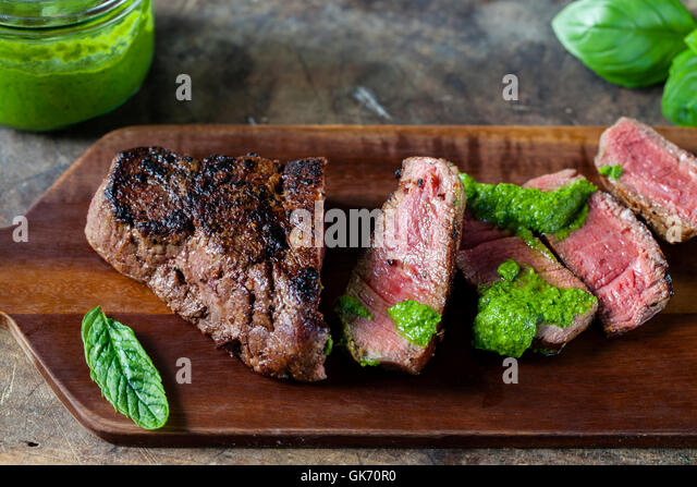 Fillet steak with salsa verde - Stock Image