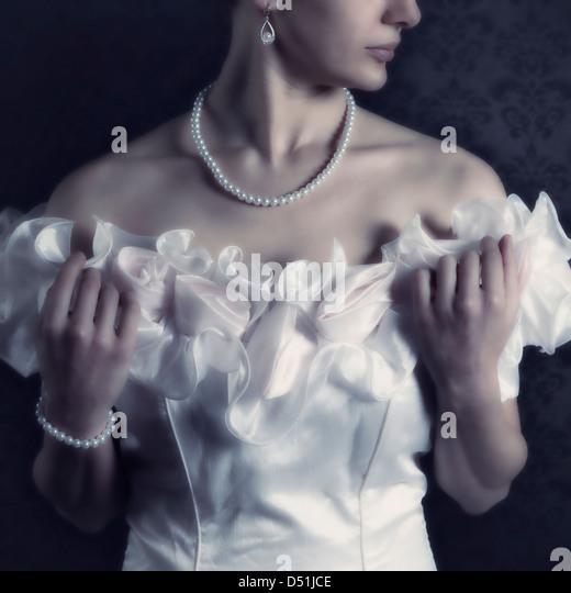 beautiful woman in a white dress - Stock-Bilder